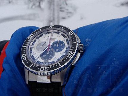 زنیس یخ سرد سرما آزمایش مقاوم zenith el primero stratos flyback striking 10th felix baumgartner