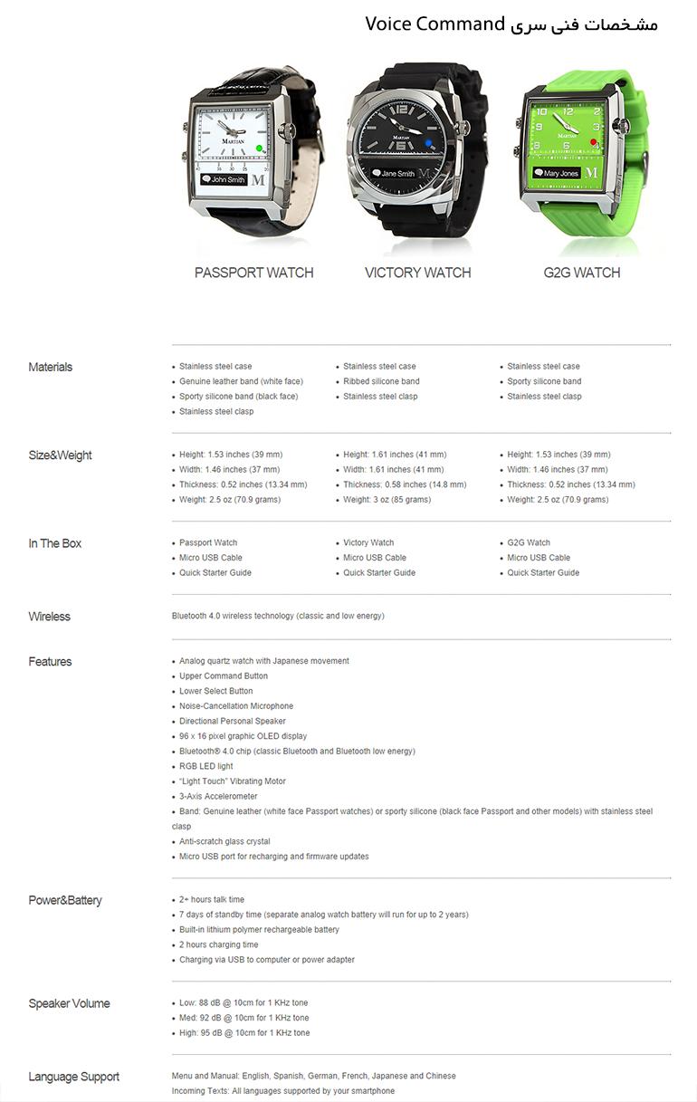 Martian Smart Watches - Voice Command - ساعت های هوشمند مارشن - سری دستور صوتی - مشخصات فنی