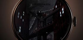 ساختمان و پل منهتن نیویورک در ساعت مچی